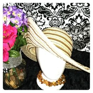 Accessories - Tan sunhat with stripes collapsible